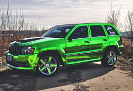 Green Mirror Jeep - Chrome Wraps